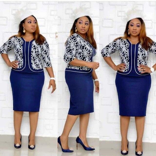 בגדים אפריקאים אלגנטי Bodycon שמלת נשים משרד ליידי 2019 מודפס טלאים חצי שרוול גבוה מותן תחבושת עיפרון שמלת חלוק