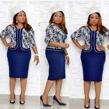 แอฟริกันเสื้อผ้า Elegant Bodycon ชุดผู้หญิง Lady 2019 พิมพ์ Patchwork เอวสูงเอวผ้าพันคอดินสอ Robe