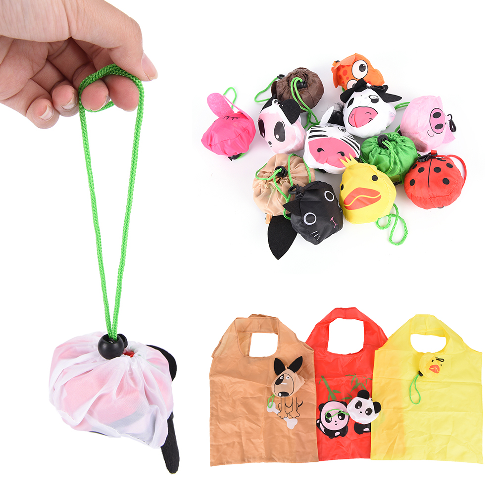 Cartoon Animal Shopping Tote Reusable Eco Bag Panda Frog Pig Bear Waterproof Foldabling Shopping Bag