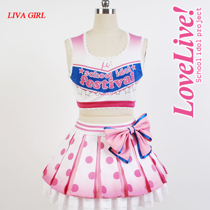 LoveLive! Love Live Yazawa Niko Cheerleaders Cosplay Costume Anime Halloween Costumes For Women Free Shipping