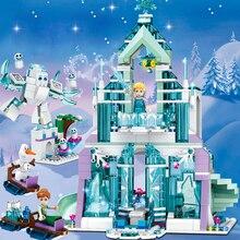 Menina brinquedos amigos elsa anna castelo de gelo palácio undersea cinderela castelo modelo conjunto legoness blocos de construção tijolos brinquedos criança presente
