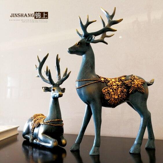 Креативный олень орнаменты украшения для дома гостиная винный шкаф смолы фигурки животных Изысканные Подарки - 2