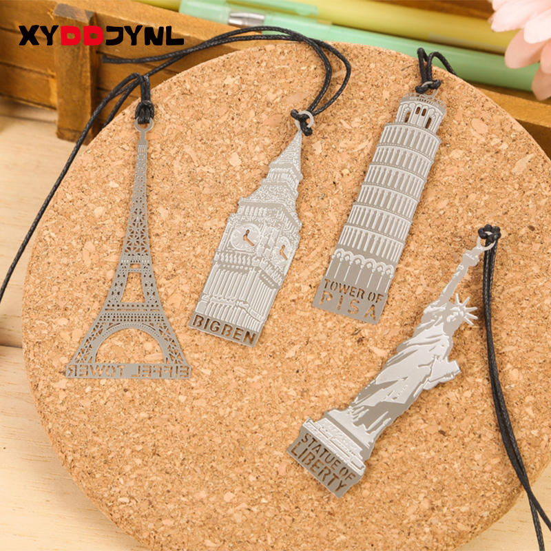 1pc Metal Bookmarks Architecture Tower Hollow Design Office Paper Clips Bookmark Creative Stationery