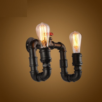 Retro Loft Style Edison Wall Sconce Creative Double Water Pipe Lamp Industrial Vintage Wall Light Fixtures Indoor Lighting все цены
