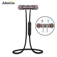 Aihontai Magnete Metallo Sport Bluetooth Auricolare Senza Fili Auricolari  Stereo Headset sport cuffia HIFI Bass earpods Per ipho. ffcb864de2d2