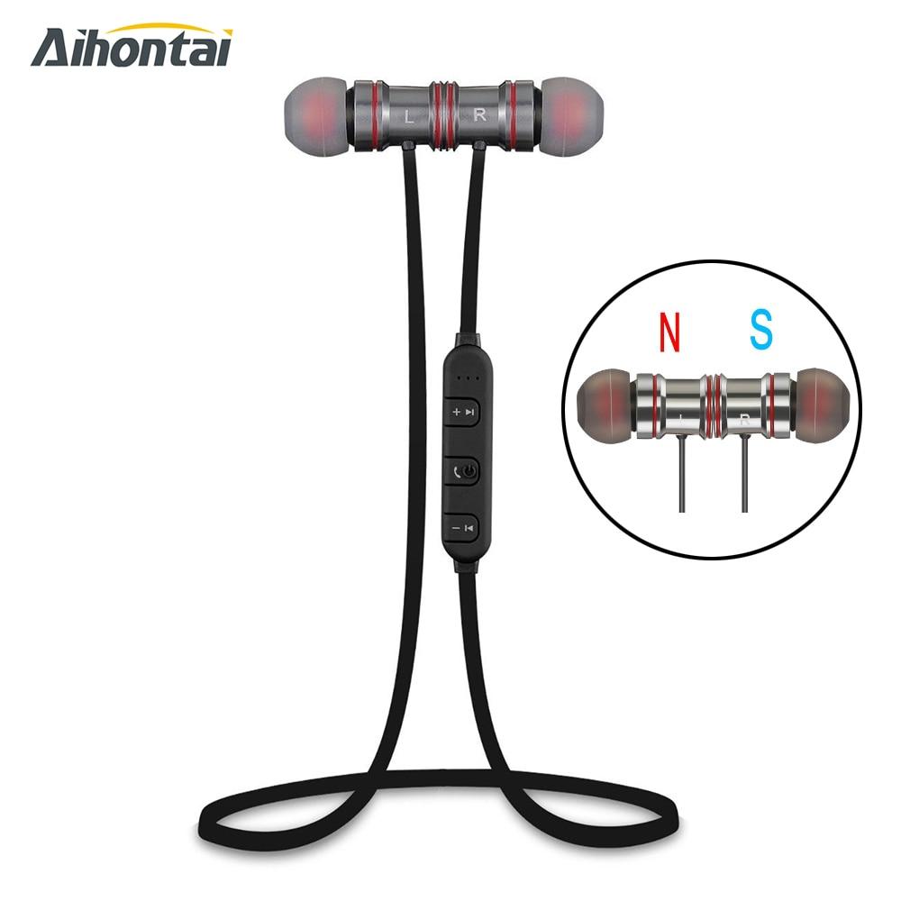 Aihontai Magnet Metal Sports Bluetooth Earphone Wireless Earbud Stereo Headset sport headphone HIFI Bass earpods For iphone