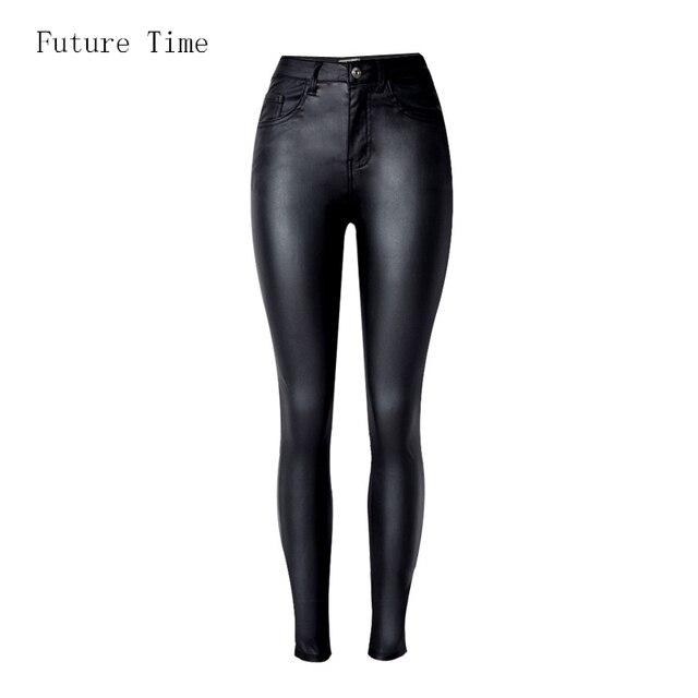 2019 Donne di Modo Dei Jeans, aderente A Vita Alta slim Skinny donna Jeans, Del cuoio Del Faux dei jeans, di stirata dei jeans Femminili, pantaloni a matita C1075