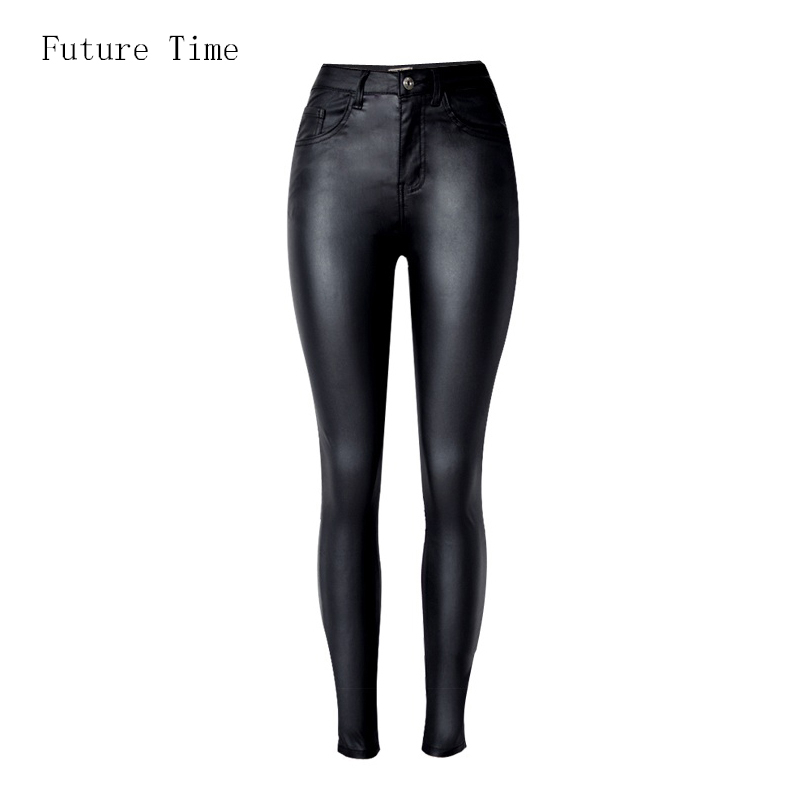 2019 Fashion Women   Jeans  ,fitting High Waist slim Skinny woman   Jeans  ,Faux leather   jeans  ,stretch Female   jeans  ,pencil pants C1075