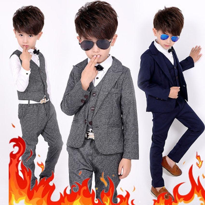ФОТО Children Blazer Suit 2017 Summer Boys Cotton Jacket+Vest+Pants 3 pieces/set Kids Long Sleeve Clothes Set for Weddings Party B144