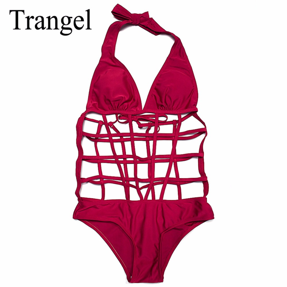 Trangel sexy hollow out one piece swimsuit 2017 summer swimwear cut out bathing suits women bandage halter swimming suits BF650 fashionable strappy printed cut out one piece swimsuit for women