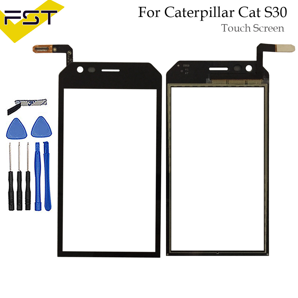 Black 4.5 Inch Touch Screen Digitizer For Caterpillar Cat S30 Cat S 30  Touch Screen Front Glass Panel Lens Sensor+Tools