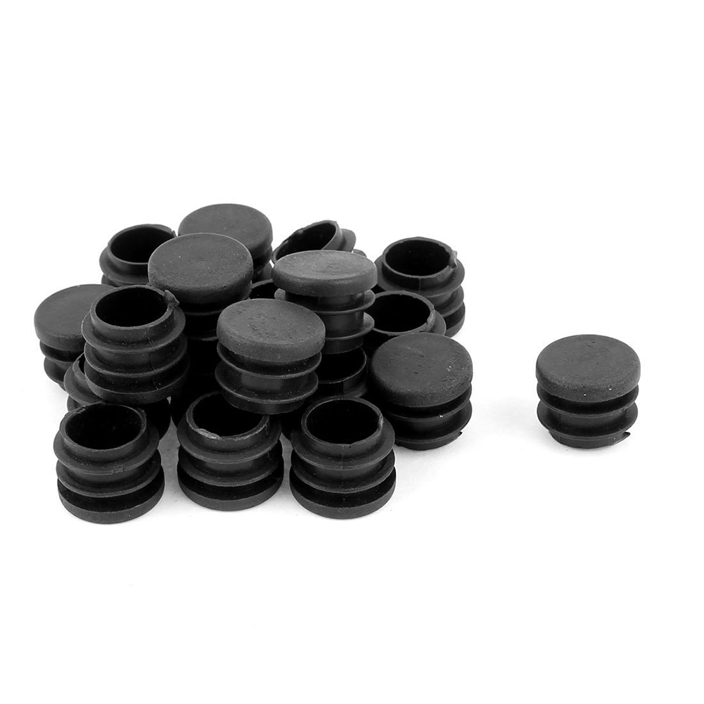 Round Table Chair Leg Tube Pipe Insert End Cap 19mm Dia 30pcs Black