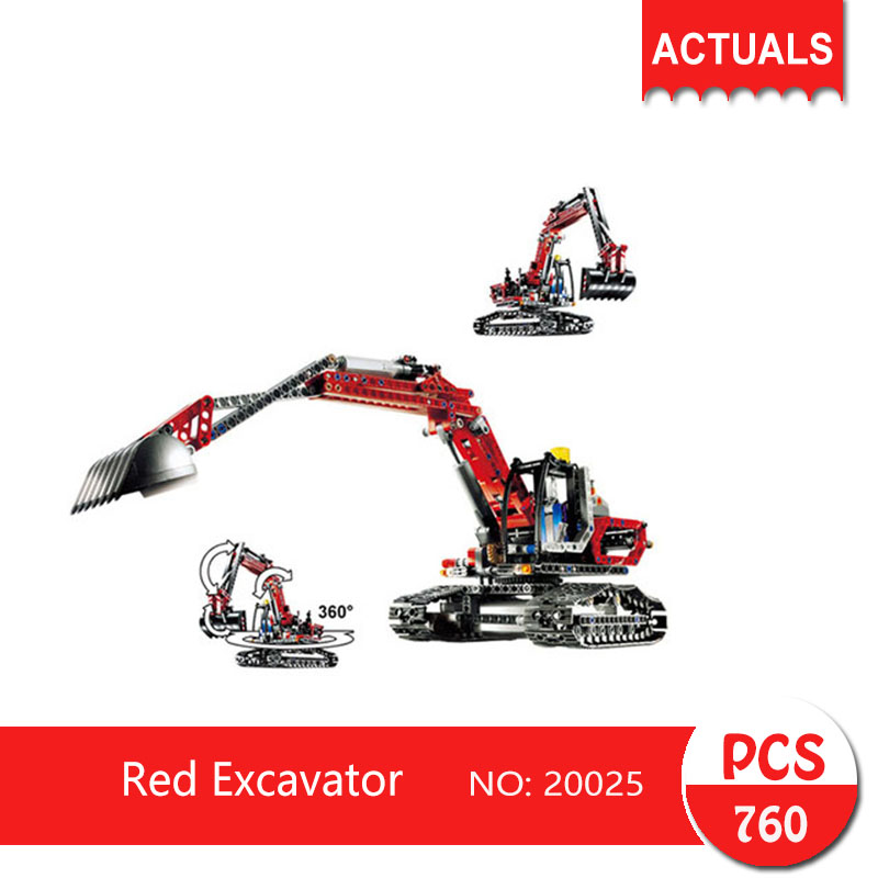 Lepin 20025 760Pcs Technic series Red Excavator  Building Blocks   Bricks Toys For Children  Gift cuesoul e103 case 1 2 jointed maple pool cue stick with 1 butt and 1 shaft billiard cue tube case