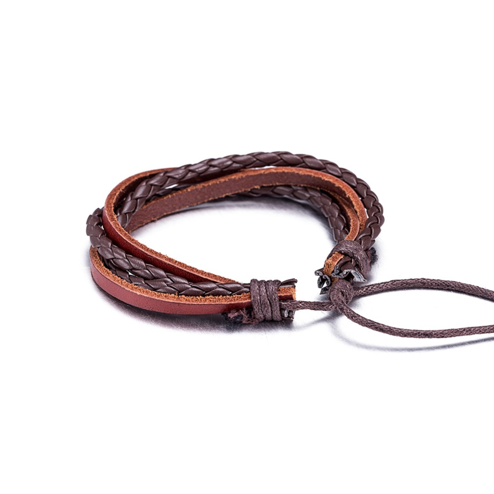 New Arrival Braided Adjustable PU Leather Bracelets & Bangles Cuff Bracelets For Women Men`s Wristband Casual Jewelry