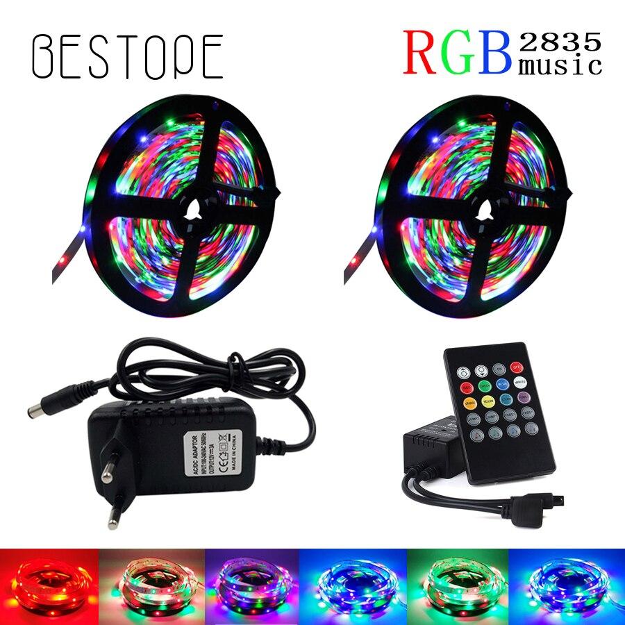 5 m 10 m 15 M 2835 tira de luz led RGB impermeable led de tira de cinta de tira Flexible con la música remoto y DC 12 V adaptador