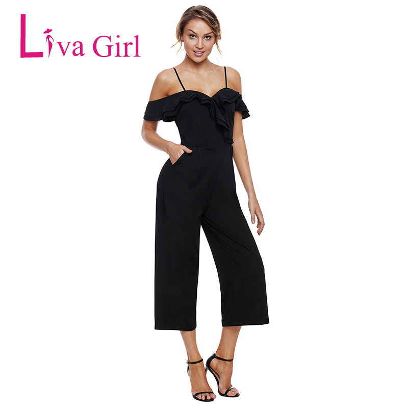 Liva Girl Women Slash Neck Sexy Jumpsuit with Pockets Black Off The Shoulder Wide Leg Rompers Long Pants Summer Casual Overall