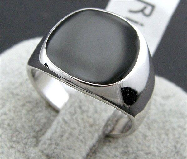 Big 18K white gold plated Black yx Glaze stone Ring for men size
