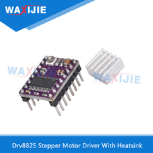 3D Printers Parts Stepstick Drv8825 Stepper Motor Driver With Heatsink Reprap 4 Layer PCB Purple Replace A4988 For Ramps 1.4 geeetech 3d start kits smart square lcd12864 display adaptor 5pcs drv8825 stepper motor driver ramps1 4 shield iduino mega2560