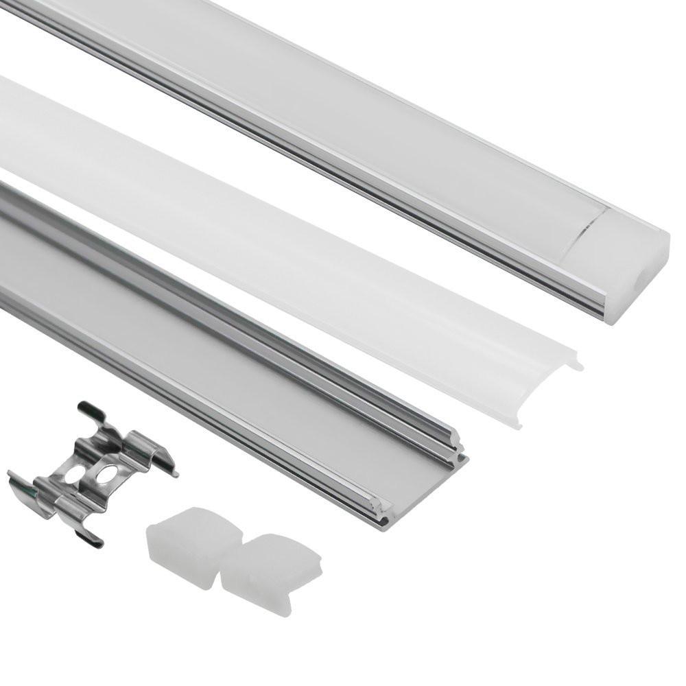 10 հատ հատ 1 մ ալյումինե ալիքով պատյան LED շերտի սալիկապատման տեղադրման համար Ալյումինե պրոֆիլը կափարիչի վերջավոր ծածկերով մոնտաժային հոլովակներով