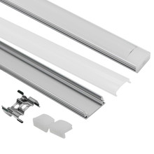 10pcs 1M Aluminum Channel for surface and recessed LED strip installation Aluminum Profile with Cover End Caps Mounting Clips