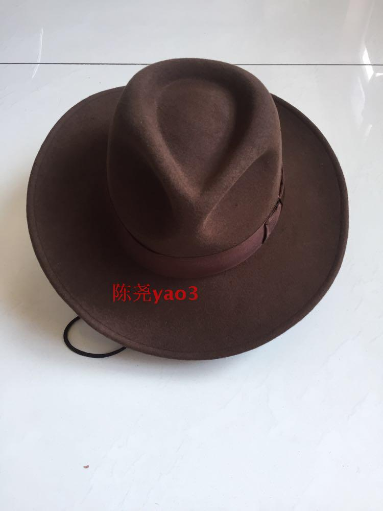 Mens Fedoras Wool Hat Adult Woolen Wide Brim Cowbo