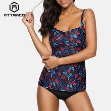Attraco Tankini Set Women Swimwear Vintage Floral Print Swimsuit Padded Back Cross Bathing Suit Beach Wear