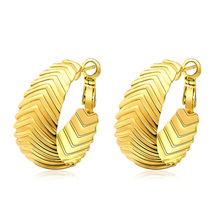 цена Golden Color  Exaggerated Tire Pattern Dangle Earrings Women Shopping Jewelry Wedding Accessories онлайн в 2017 году