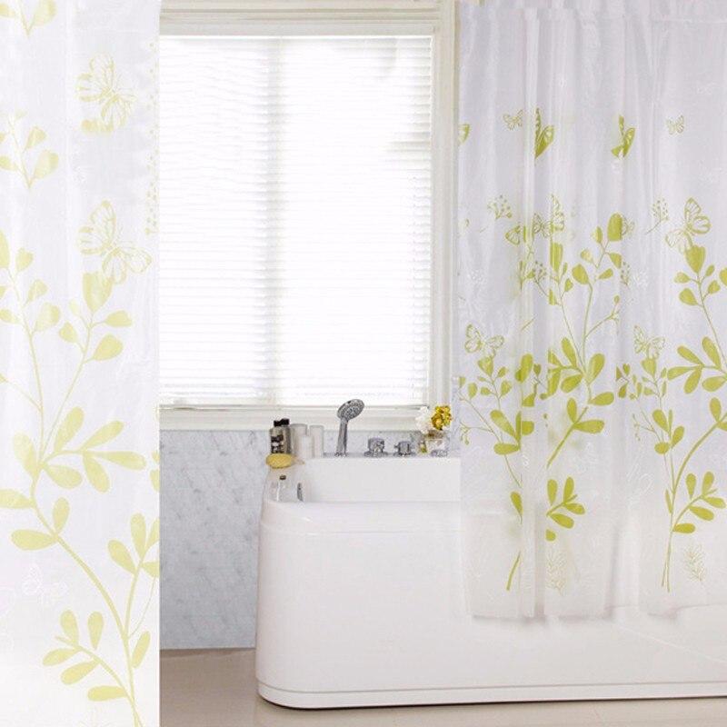shower curtain modern waterproof PEVA shower curtain green butterfly ...