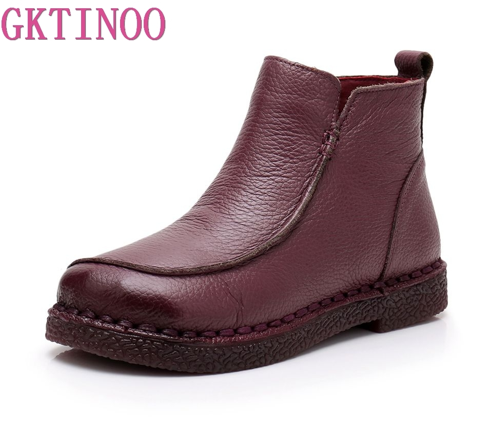 GKTINOO Winter Warm Fashion Handmade Boots For Women Genuine Leather Ankle Shoes Vintage Women Shoes Round
