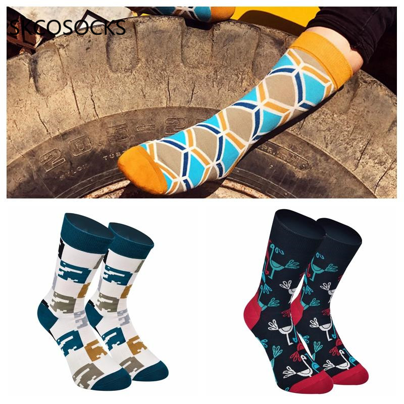 SKCOSOCKS Winter Mens Funny Happy Socks Stripe Cotton Grid Three-dimensional Middle Tube Socks Geometric Flamingo Pattern Socks