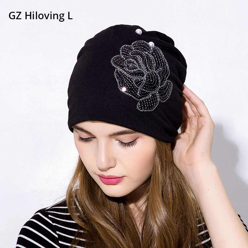 3779b04557c GZHilovingL 2018 Womens Spring Sequins Slouch Beanies Hats Fashion Rose  Loose Baggy Hats Preal Soft Womens