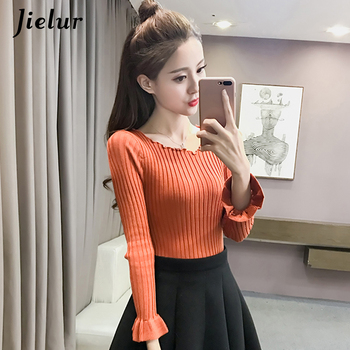 Jielur Autumn Chic O-neck Flare Sleeve Knitted Sweater Female Simple Leisure Slim Ladies Top Fashion Solid Color Bottoming Shirt