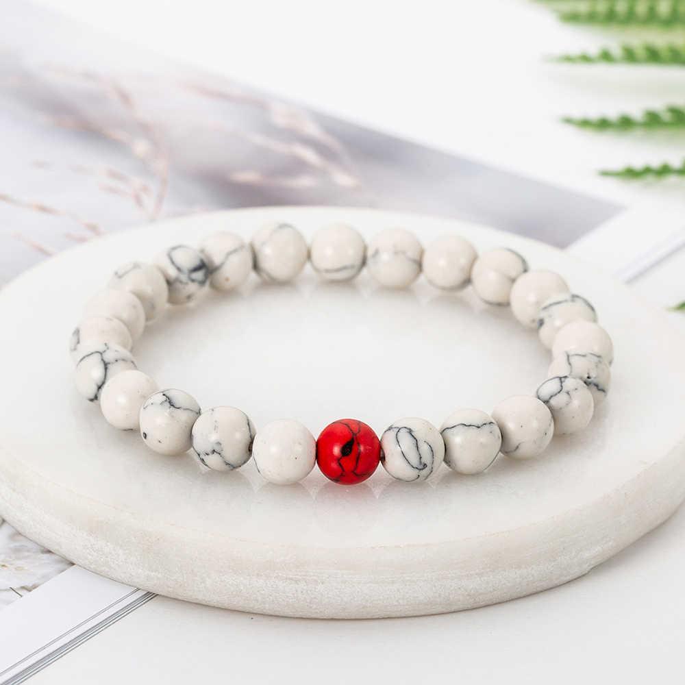Ręcznie robione 8mm rozmiar White Pine kamień bransoletka Mix kilka kolorów cena hurtowa tanie naturalne koraliki bransoletka modna biżuteria