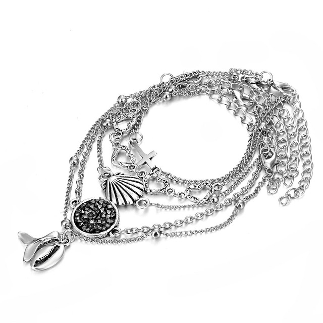 Bohemian Mermaid Conch Tassel Charm Bracelets
