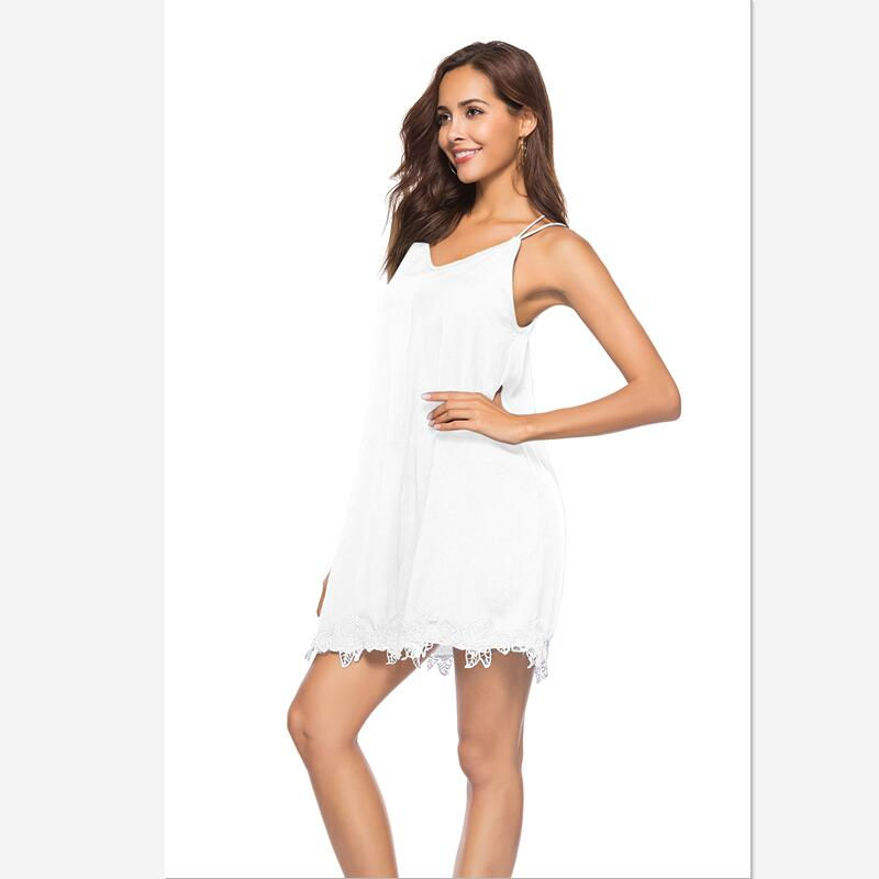 2018 summer faddish  spaghetti strap lace dress office lady chiffon  dress