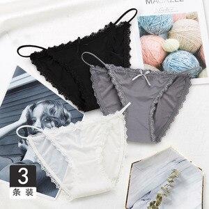 Image 3 - 3PCS סקסי תחתוני נשים תחרה עלייה נמוכה מוצק תחתונים סקסיים חלק אינטימי חוטיני תחתונים כותנה מפשעה אישה תחתונים