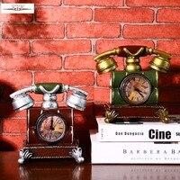 Retro Telephone Style Vintage Desk Clock Shabby Chic Vintage Table Clock Piggy Bank Resin Crafts 15*13*12cm
