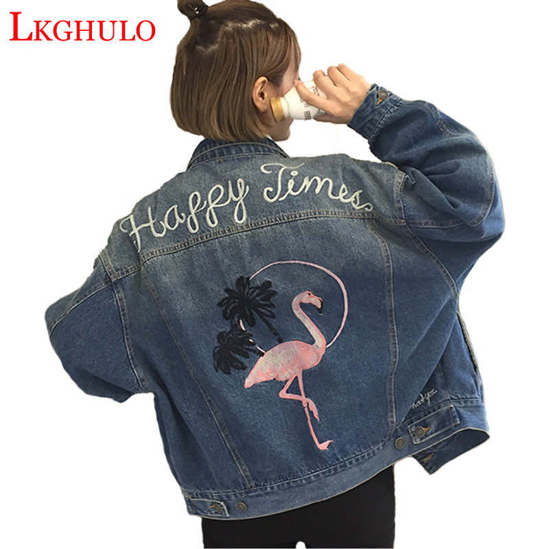 Color Flamingos Denim Tops W64 Plus Jeans Women Spring 2xl Jacket Photo Embroidery Coat 2018 Style Harajuku Size Lkghulo pfdFwTOqp