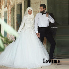 Long Sleeves Muslim Wedding Dress with Sash Appliques Beads Hijab Bridal Dresses Saudi Arabic Wedding Gowns Robe De Mariee