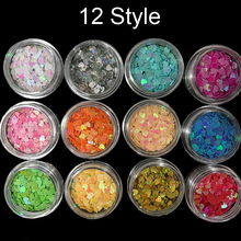MA-11 Box Mixed Colors Nail Glitter Flake Holographic Acrylic Sequins Round Decorations 12 Styles/lot For Choose