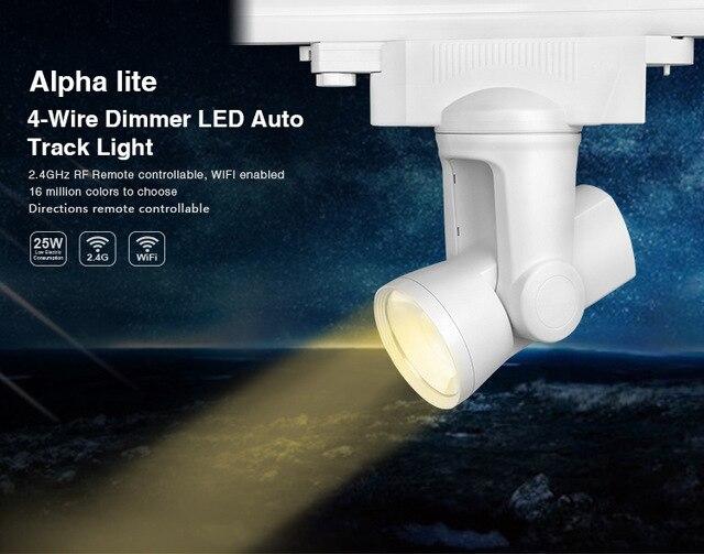 ФОТО 2.4G Mi Light RF WIFI 25W 4-wire Dimmer Rail LED Tracklight Ceiling Rail light For Pendant Kitchen Clothes Shoe Shop  AC86V-265V