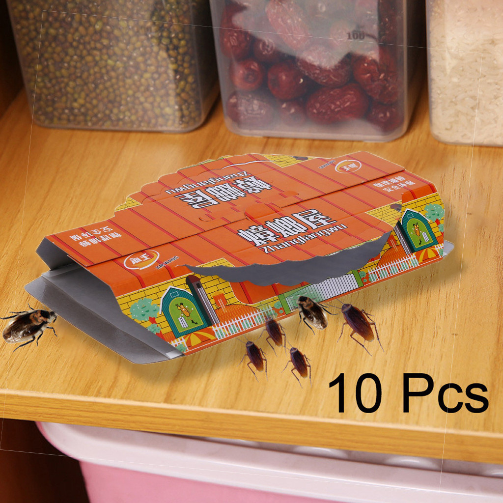 10Pcs Non-toxic Ockroach Catcher Capture Device Killing Cockroach House Super Sticky Trap Sticker Outdoor Traps For Flies Jl3