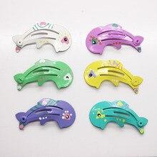 6pcs/set cute dolphin shape hair snap clips animal shape hairpins printed metal hair clips hair accessories fancy hair snaps