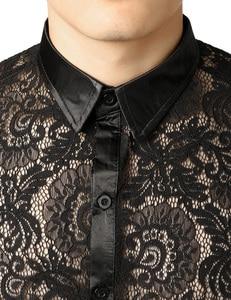 Image 4 - Malha masculina ver através fishnet clubwear camisas fino ajuste manga longa sexy camisa de renda masculina festa evento baile de formatura transparente chemise 2xl