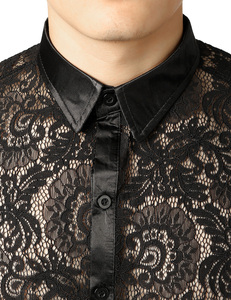 Image 4 - Mens Mesh See Through Fishnet Clubwear Shirts Slim Fit Long Sleeve Sexy Lace Shirt Men Party Event Prom Transparent Chemise 2XL
