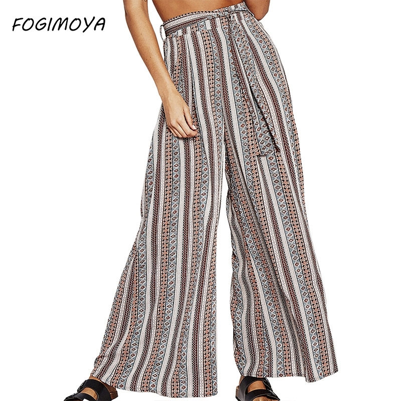 FOGIMOYA Pants Women's Trousers High Waist Printed Wide Leg Straight Pants Are Bandwidth Loose Casual Long Pant New
