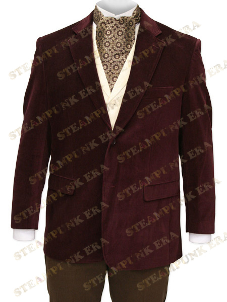 Unique Dark Red Lapel Single Breasted Buttons Velvet font b Mens b font Steampunk font b