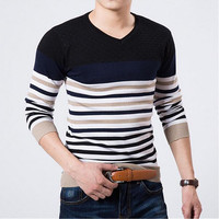 European And American Classic Men S Sweaters Embroidered Round Neck Sweater Men Slim Male Sweaters Cashmere