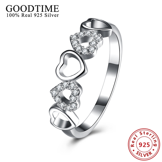 Goodtime 925 Sterling Silver Rings For Women Hearts Engagement Ring