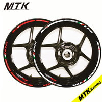 MTKRACING Motorcycle FIT APRILIA RSV4 17'' 12 X Thick Edge Outer Rim Sticker Stripe Wheel Decals